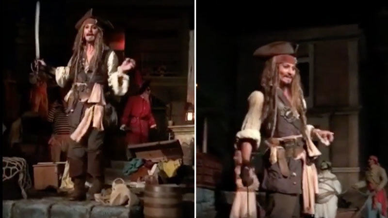 Johnny Depp Pops In on Disneyland's Pirates Ride