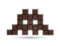 Pixel-Cut Chocolate Invader
