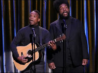 """Black Simon and Garfunkel Perform """"All About That Base"""""""