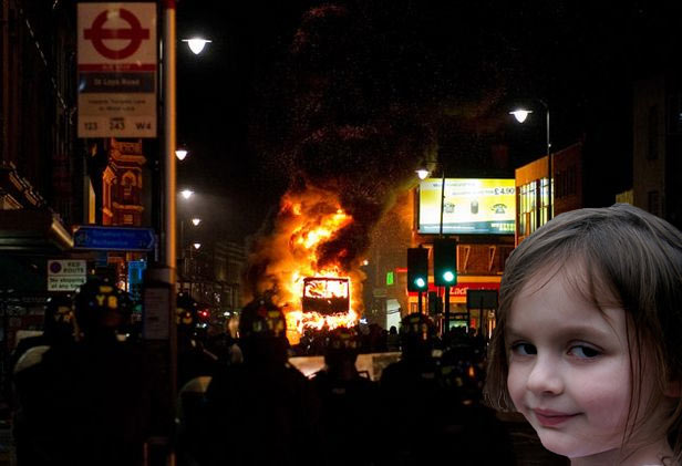 Disaster Girl in London, UK
