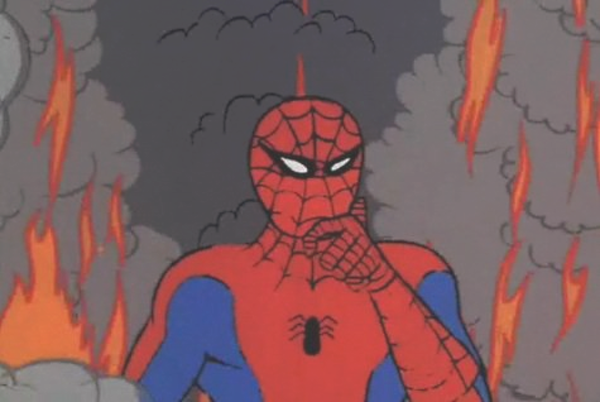 spidey is on fire clean 60s spiderman know your meme