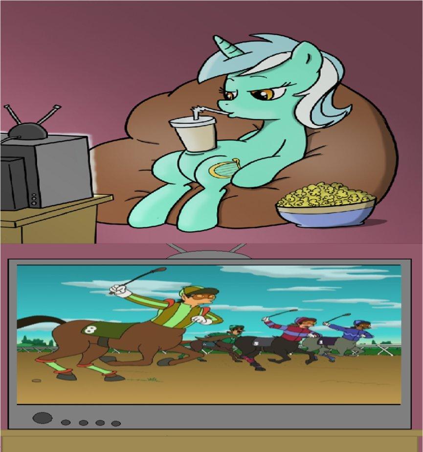 lyra watching centaur racing sitting lyra know your meme