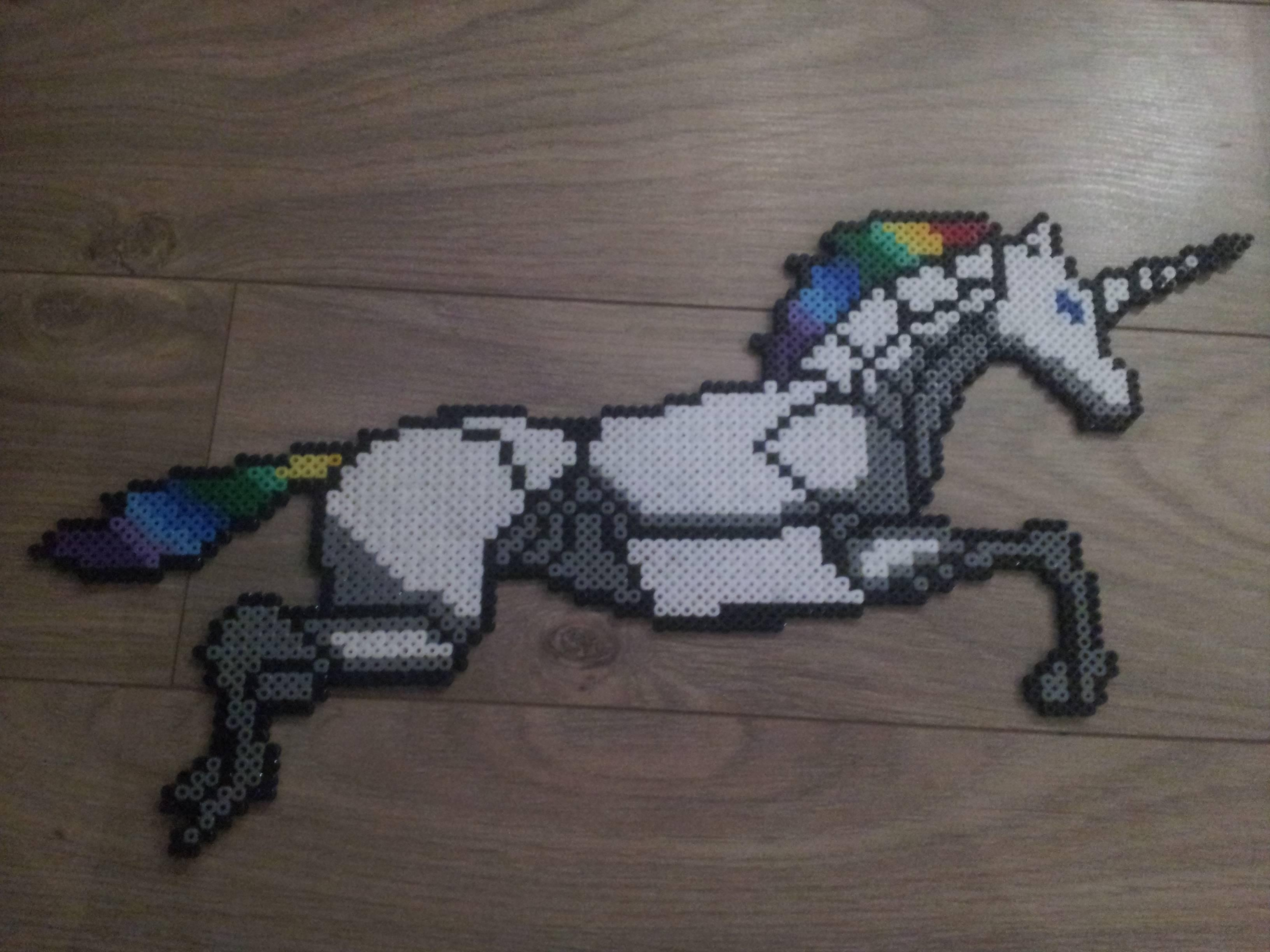 rainbow unicorn attack perler