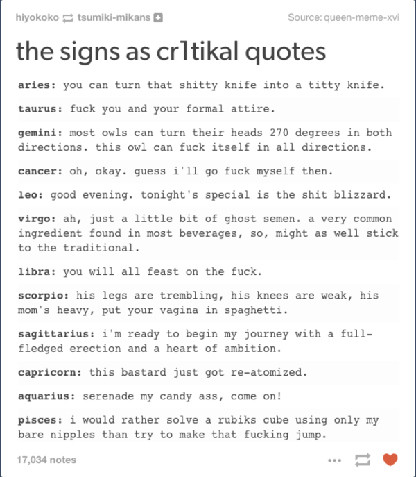 Horoscope Humor: The Signs As...