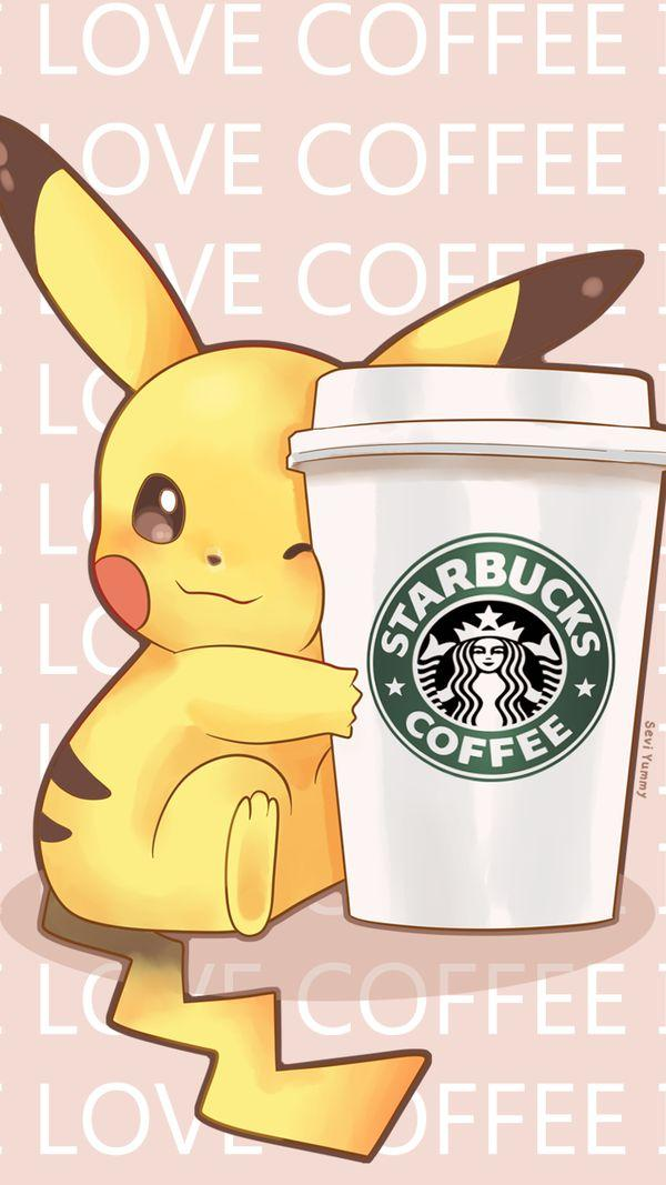 Pikachu love starbucks coffee pok mon know your meme - Kawaii anime iphone wallpaper ...