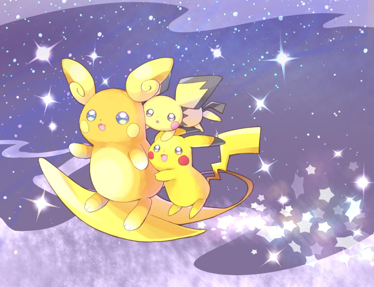 Pichu and Pikachu surfing with Alolan Raichu   Pokémon Sun ...Pichu Pikachu Raichu
