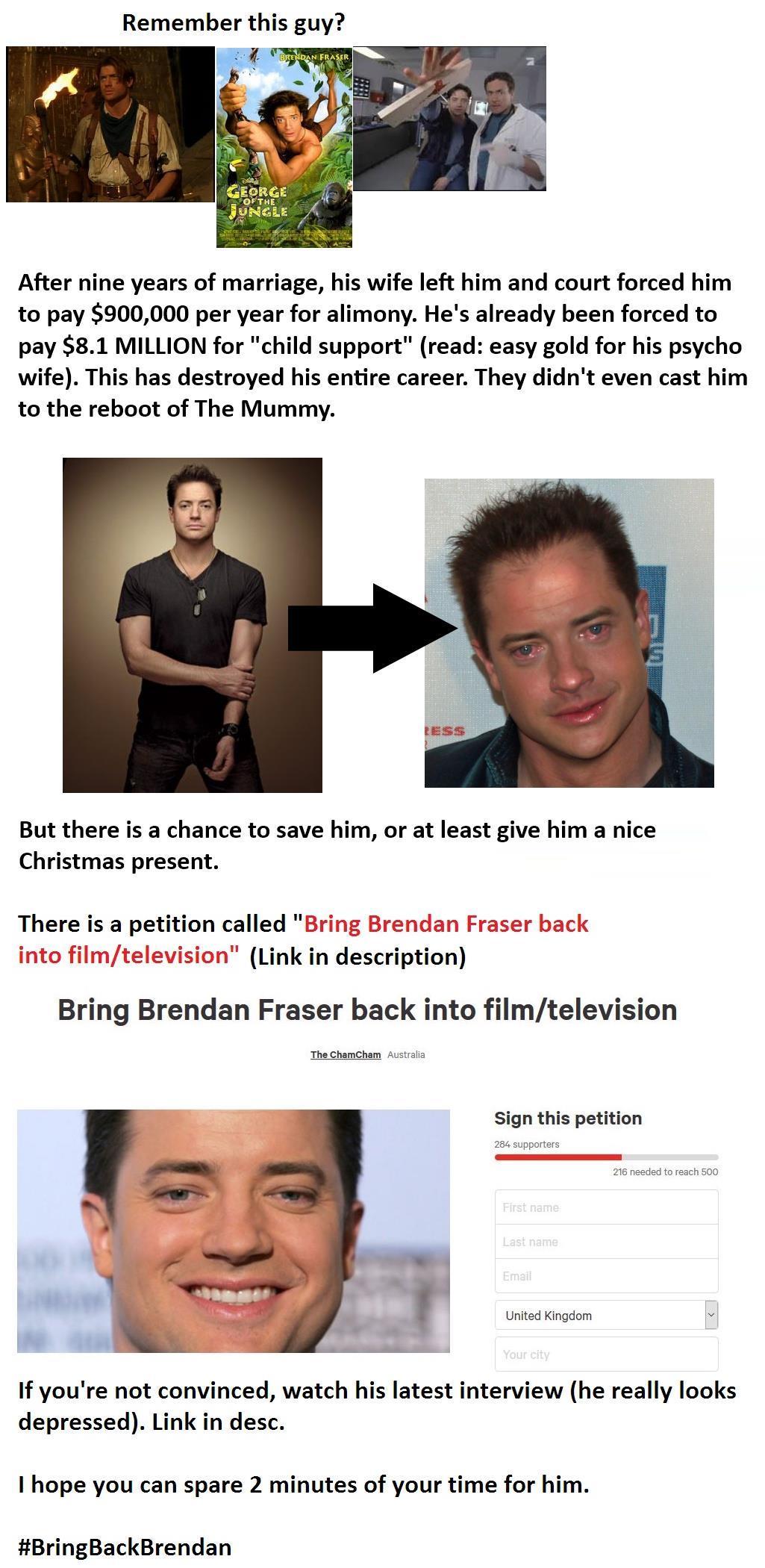 #BringBackBrendan | Brendan Fraser's Alimony / Just Fuck ...