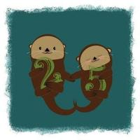 Otters Holding Hands