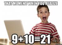 9 +10 = 21
