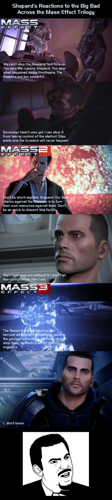 Shepard's Reactions at the End of Each Mass Effect Game