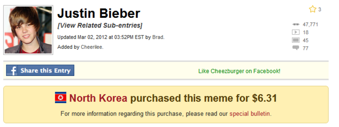 North Korea Bought Justin Bieber