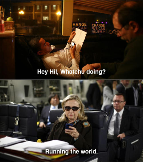 Obama texts Hillary