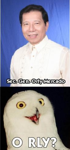 Sec. Gen. Orly Mercado and his Pet Snowy O RLY Owl