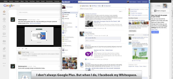 I don't always Google Plus. But when I do, I facebook my Whitespace.