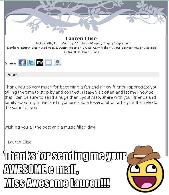 Thanks For the Awesome E-mail, Miss Awesome Lauren!!!