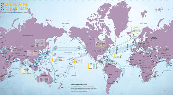 The World Map of Submarine Communications Cable