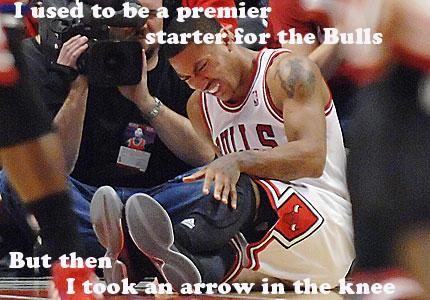 Derek Rose in Knee, wait ACL.