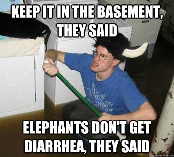 Elephants don't get diarrhea