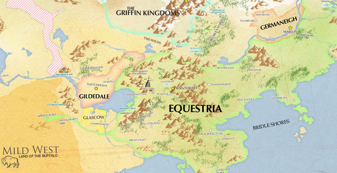 Map of Equestria and other neighbouring nations