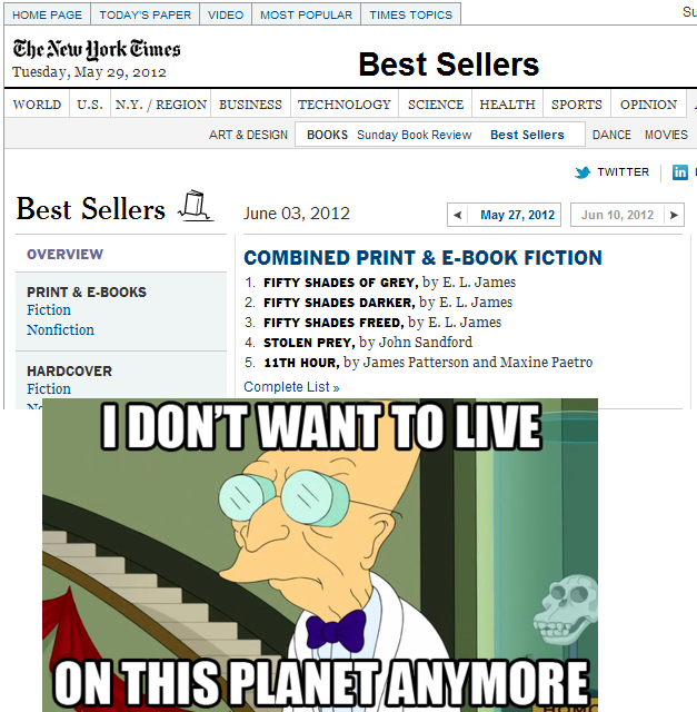 50 Shades of Grey is actually a NY Times Best Seller