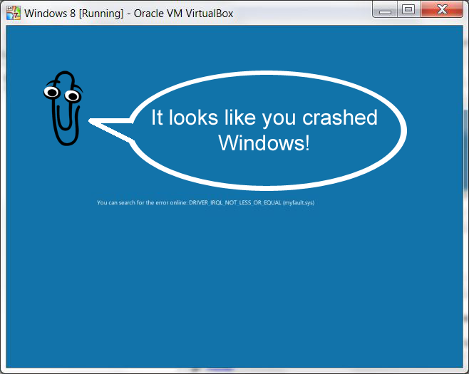 Clippy on Windows 8's new BSOD