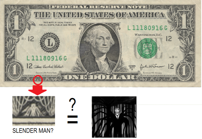 Slender Man On Dollar Bill