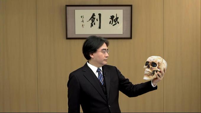 Iwata holding Skull