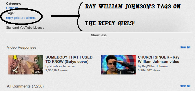 Ray William Johnson's Video Tags On Reply Girls