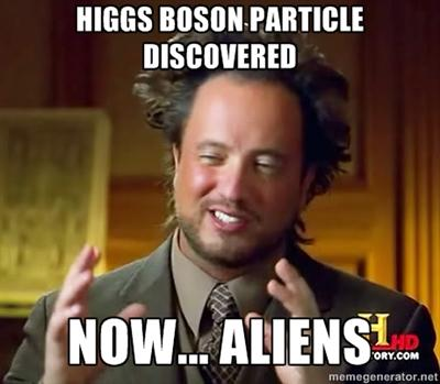 Higgs-boson ancient aliens