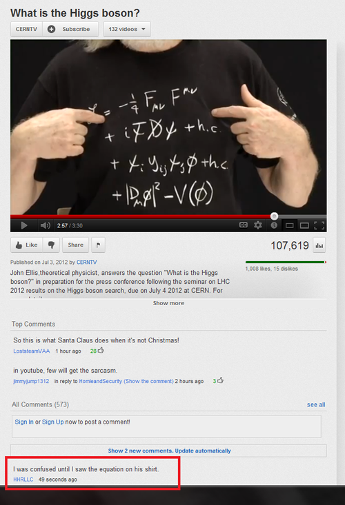 Higgs-boson Youtube Comment