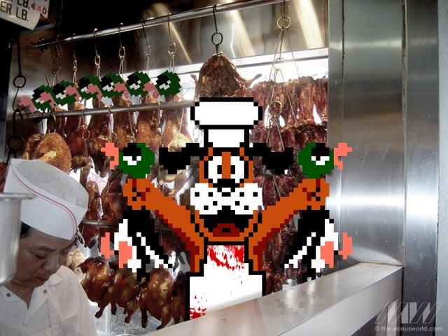 duck hunt dog in a duck meat shop