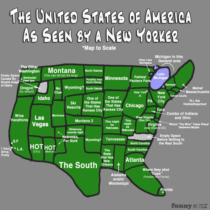 The Map of America As Seen by a New Yorker