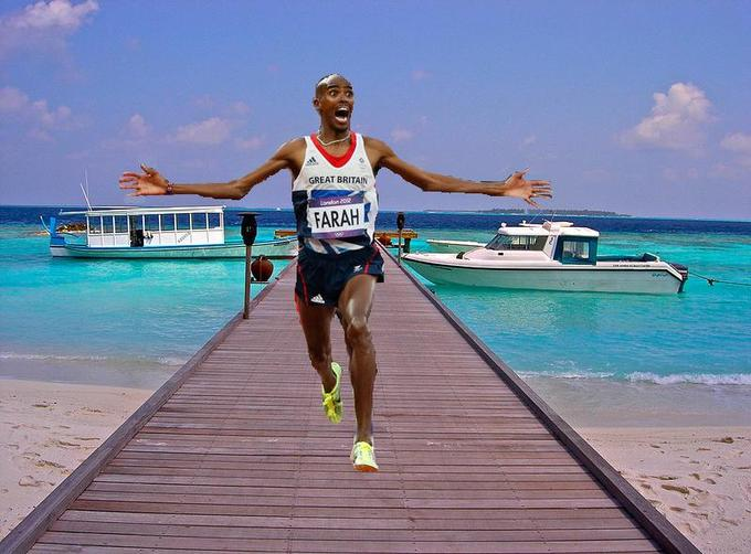 Mo Farah Running On the Dock