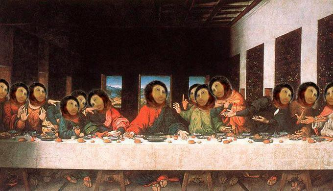 "Ruined ""Ecce Homo"" face appears in da Vinci's Last Supper"