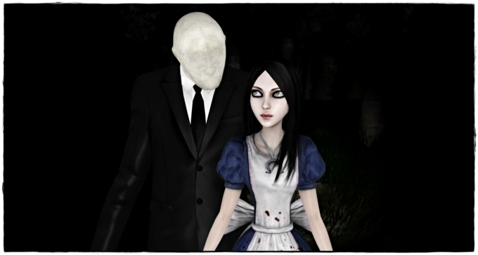 Slender Man Meets Alice Liddell by jagged66