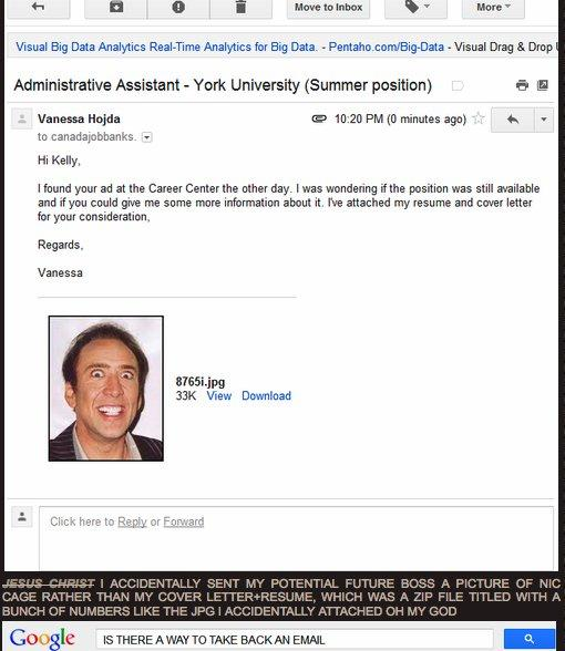 Girl Accidentially Sent Nicolas Cage Photo As Her Resume.