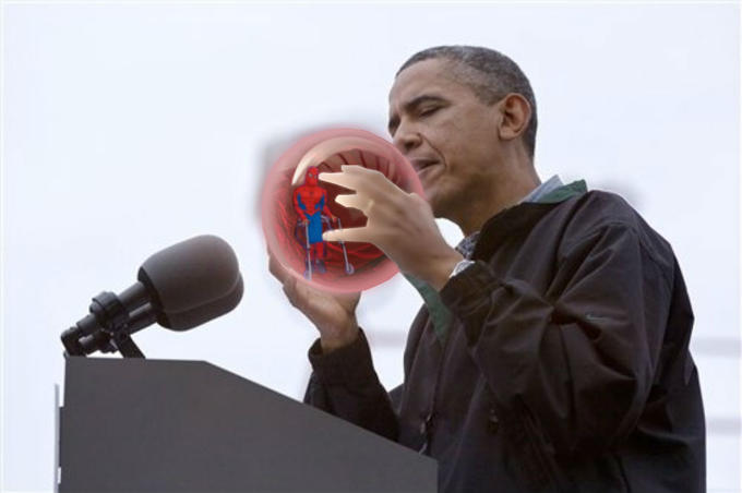 crippled spidey in obama's crystal ball