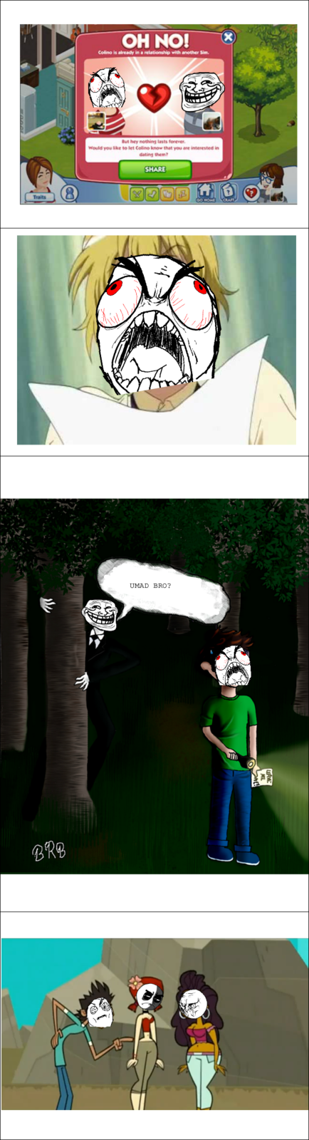 Photos with rage comic faces over it