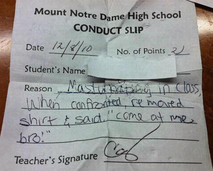 Conduct Slip
