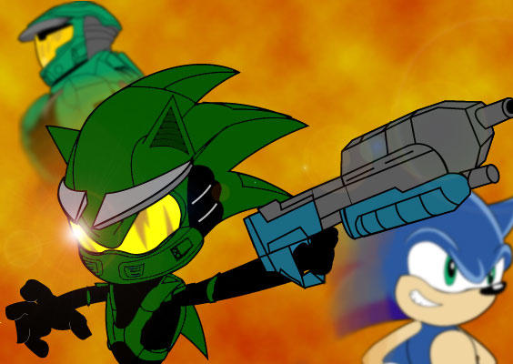 Master Chief and Sonic fused together