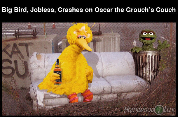 Big Bird, Jobless, Crashes on Oscar the Grouch's Couch