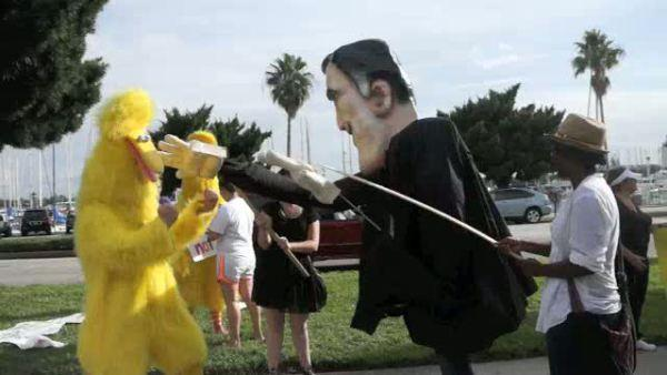 Costume Romney Attacks Costume Big Bird