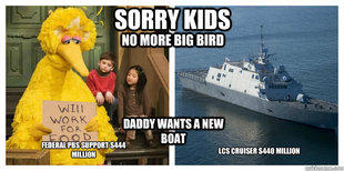 Sorry Kids No More Big Bird. Daddy Wants a New Boat