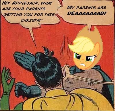 Applejack slaps Robin