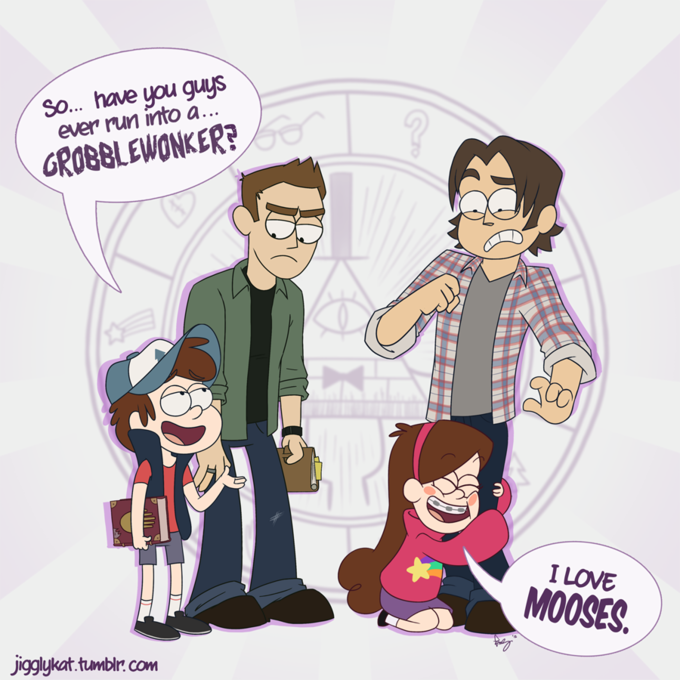 http://jigglykat.tumblr.com/post/27120123760/the-winchesters-make-a-stop-in-gravity-falls