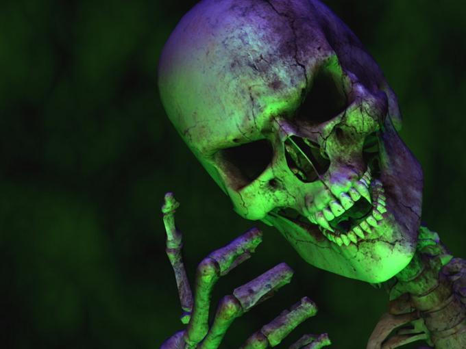 Green Colored Skeleton