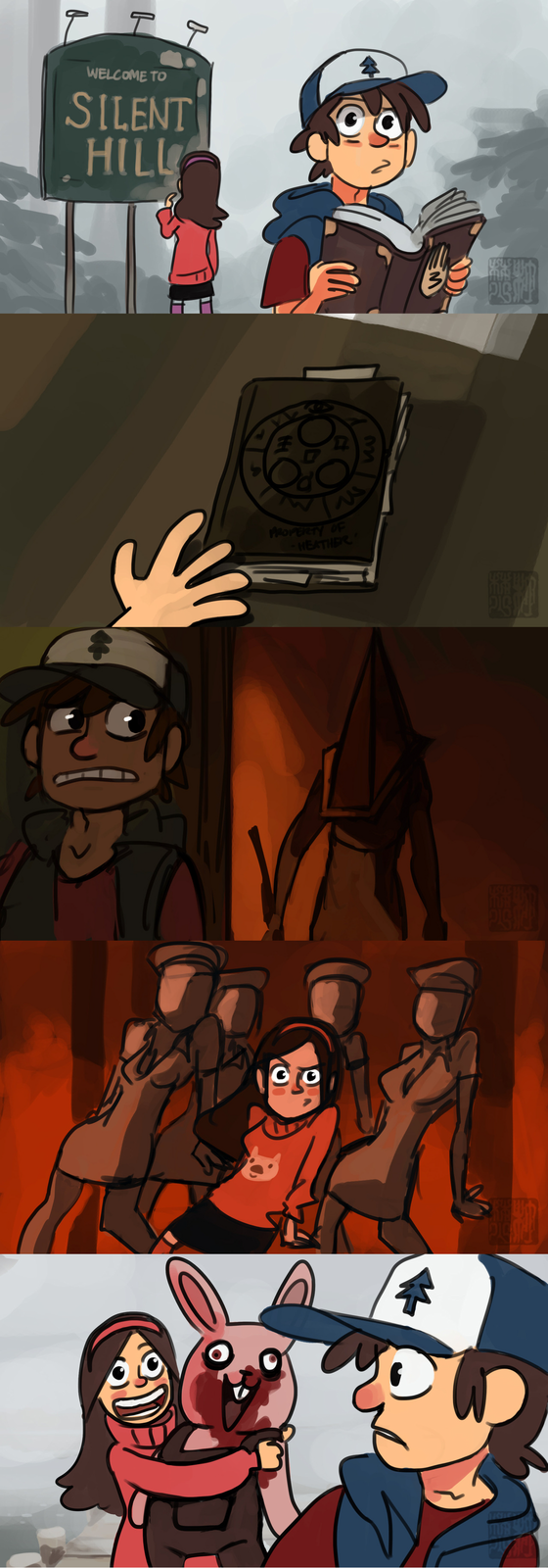http://yumegawa.tumblr.com/post/30794056076/mabel-and-dipper-goes-to-silent-hill-c-daryl