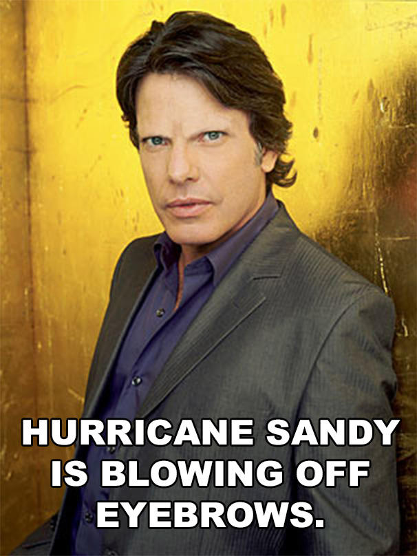 Hurricane Sandy is blowing off eyebrows.