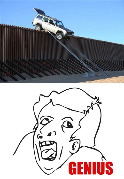 jeep stuck on border fence