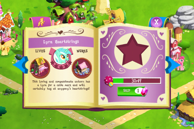 Lyra's character profile in My Little Pony game by Gameloft
